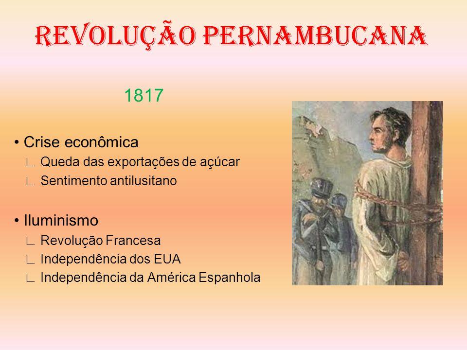 REVOLUÇÃO PERNAMBUCANA 1817 Proclamam a república ∟ PE, PB, RN E AL ∟ Falha ∟ Falta de unidade ∟ Pobres X Elite ∟ Igualdade X Autonomia política Repressão e morte Acelera a Independência