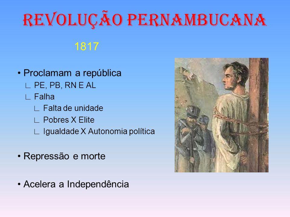 REVOLUÇÃO PERNAMBUCANA 1817 Proclamam a república ∟ PE, PB, RN E AL ∟ Falha ∟ Falta de unidade ∟ Pobres X Elite ∟ Igualdade X Autonomia política Repre