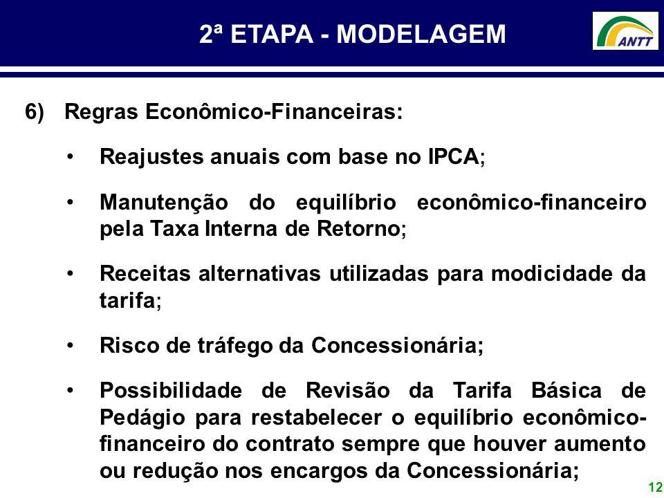 12 2ª ETAPA - MODELAGEM 6) Regras Econômico-Financeiras: Reajustes anuais com base no IPCA ; Manutenção do equilíbrio econômico-financeiro pela Taxa I