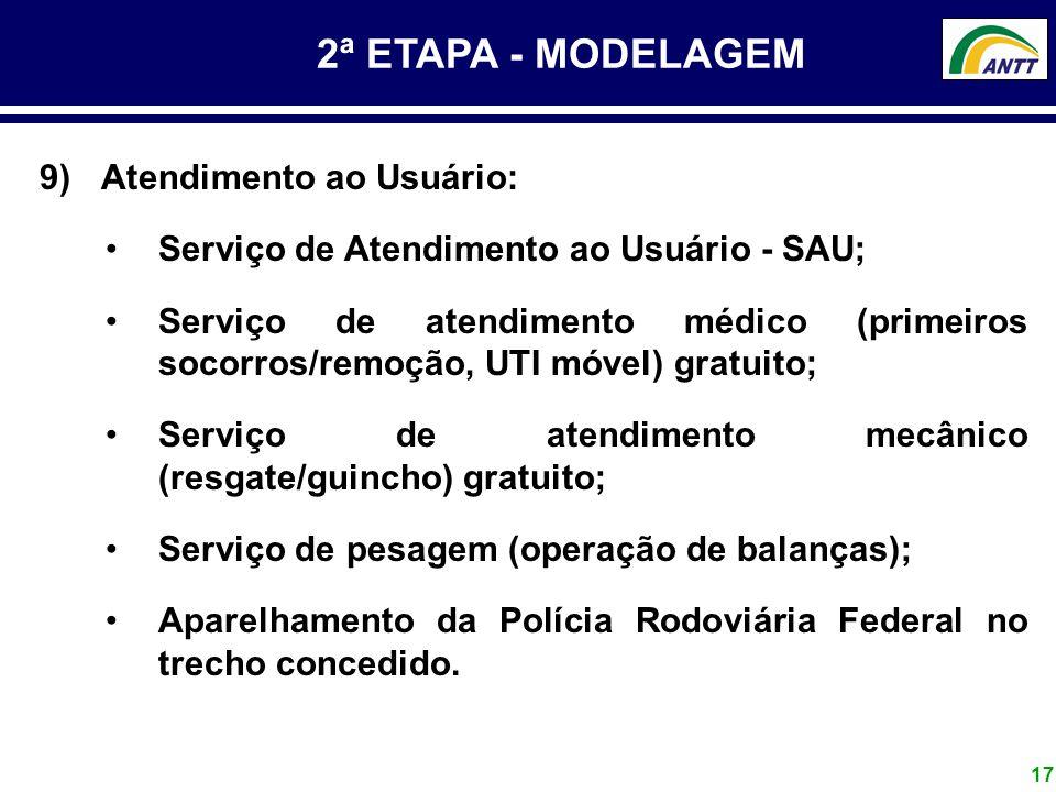 17 2ª ETAPA - MODELAGEM 9) Atendimento ao Usuário: Serviço de Atendimento ao Usuário - SAU; Serviço de atendimento médico (primeiros socorros/remoção,