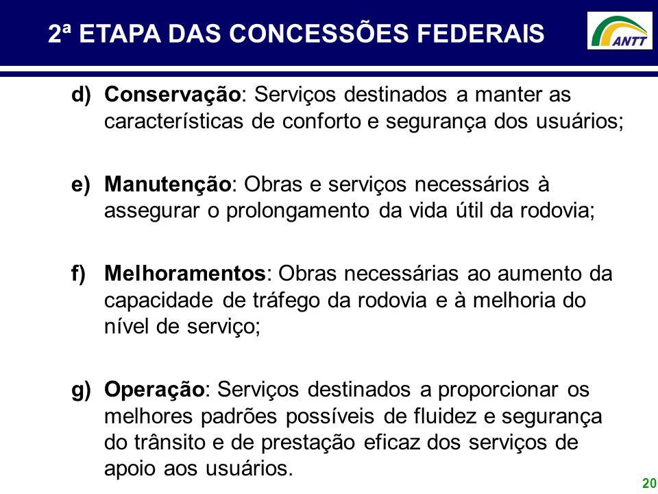20 2ª ETAPA DAS CONCESSÕES FEDERAIS d)Conservação: Serviços destinados a manter as características de conforto e segurança dos usuários; e)Manutenção: