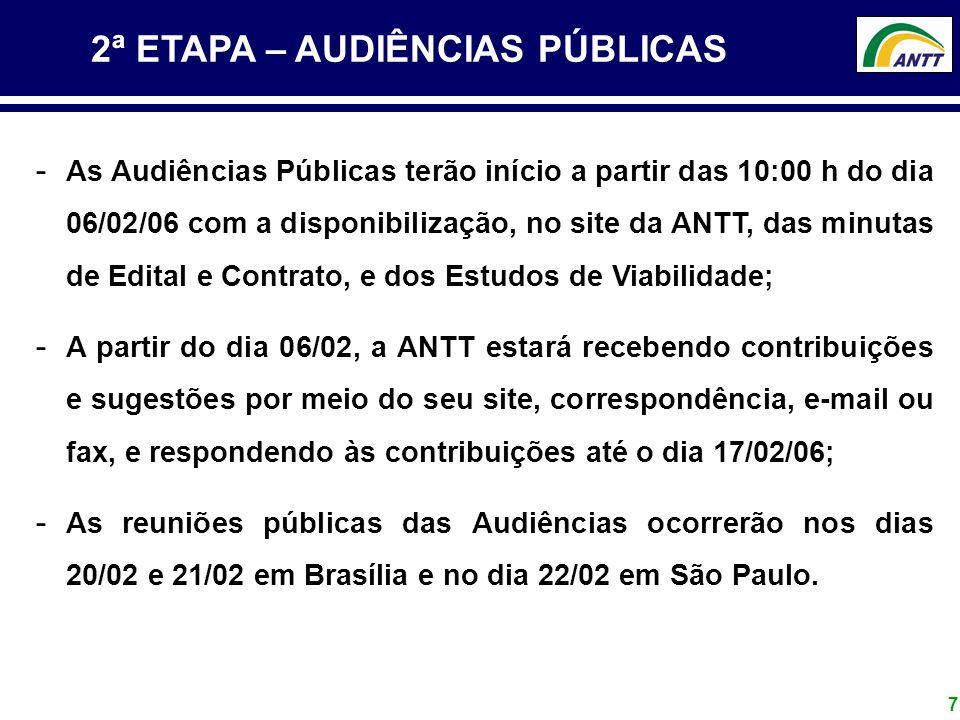 7 2ª ETAPA – AUDIÊNCIAS PÚBLICAS - As Audiências Públicas terão início a partir das 10:00 h do dia 06/02/06 com a disponibilização, no site da ANTT, d