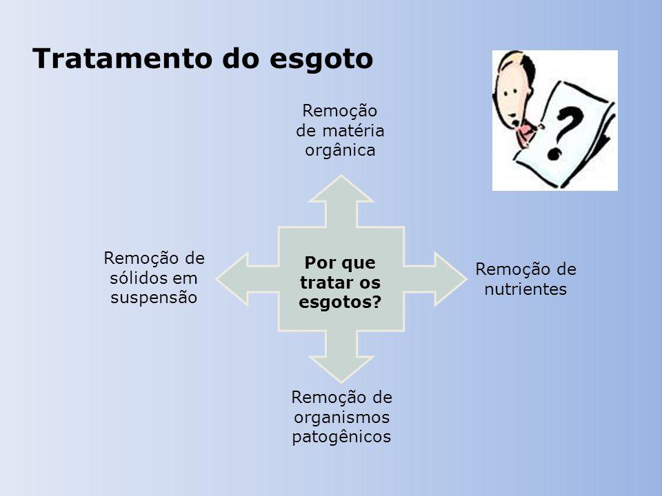 Tratamento do esgoto Remoção de matéria orgânica Remoção de sólidos em suspensão Remoção de organismos patogênicos Remoção de nutrientes Por que tratar os esgotos