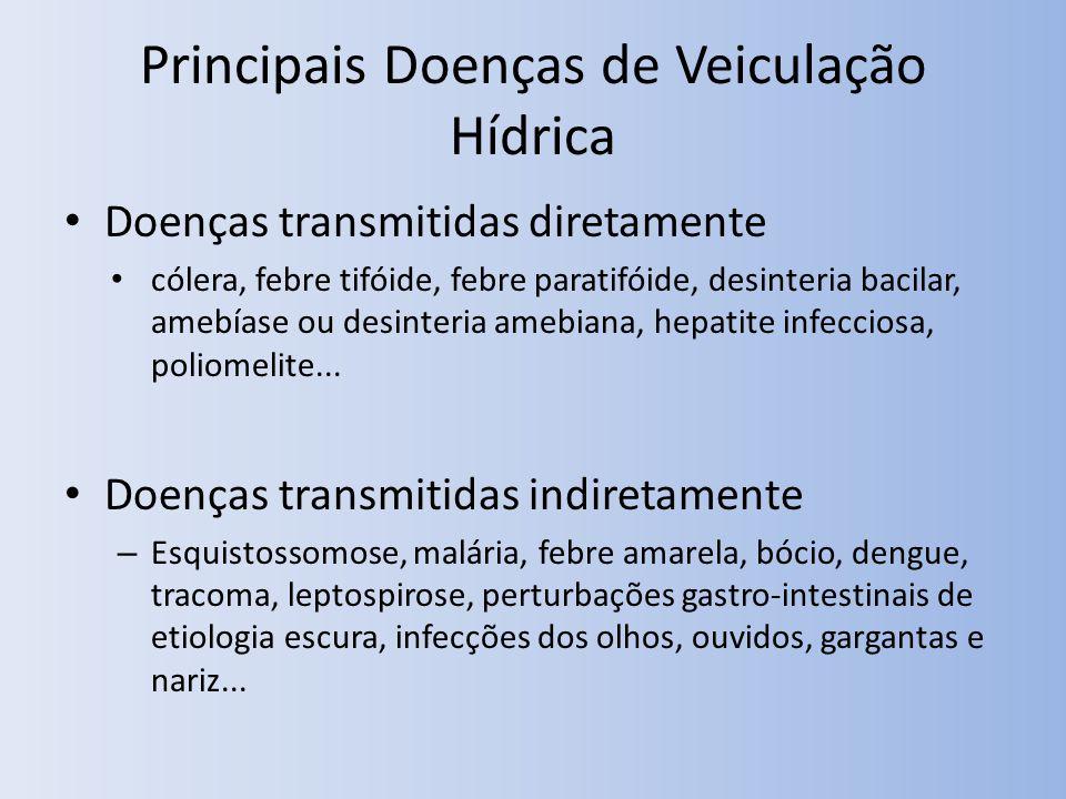 Principais Doenças de Veiculação Hídrica Doenças transmitidas diretamente cólera, febre tifóide, febre paratifóide, desinteria bacilar, amebíase ou desinteria amebiana, hepatite infecciosa, poliomelite...