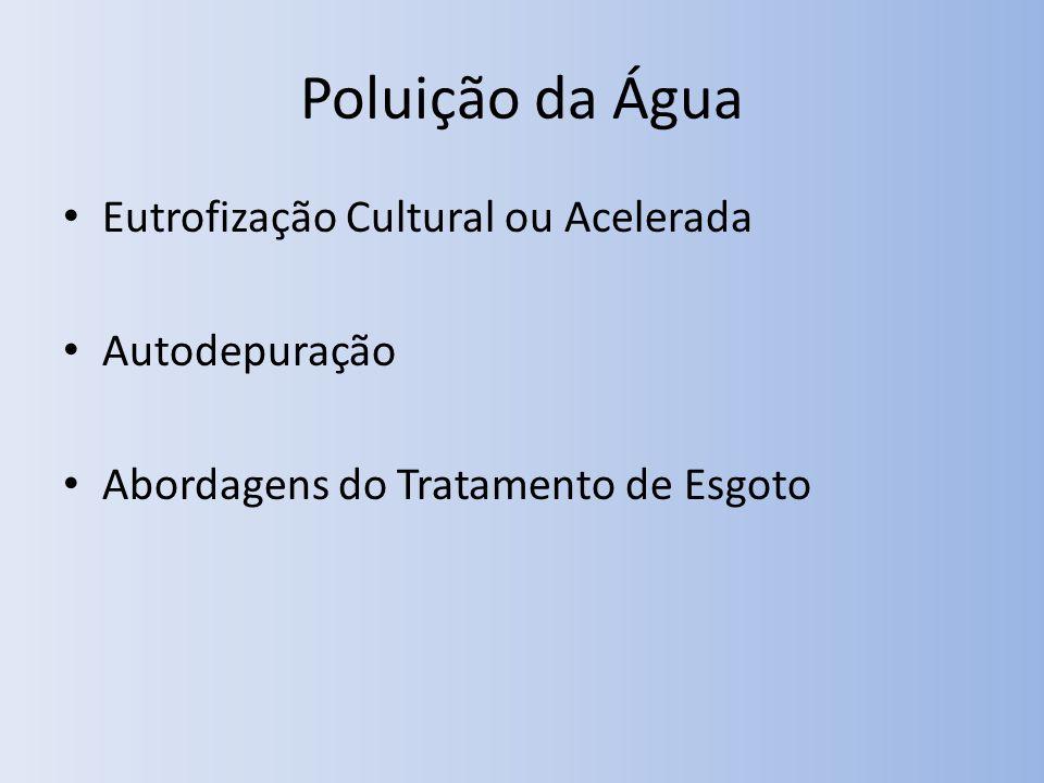 Poluição da Água Eutrofização Cultural ou Acelerada Autodepuração Abordagens do Tratamento de Esgoto