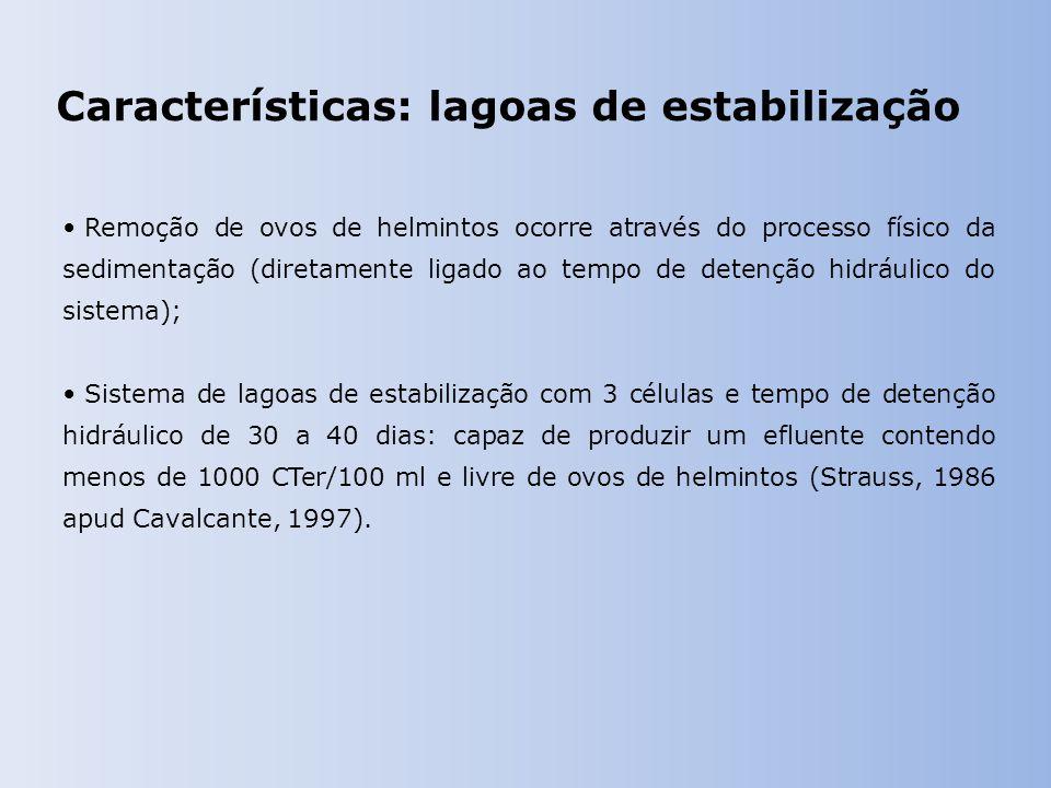 Características: lagoas de estabilização Remoção de ovos de helmintos ocorre através do processo físico da sedimentação (diretamente ligado ao tempo de detenção hidráulico do sistema); Sistema de lagoas de estabilização com 3 células e tempo de detenção hidráulico de 30 a 40 dias: capaz de produzir um efluente contendo menos de 1000 CTer/100 ml e livre de ovos de helmintos (Strauss, 1986 apud Cavalcante, 1997).