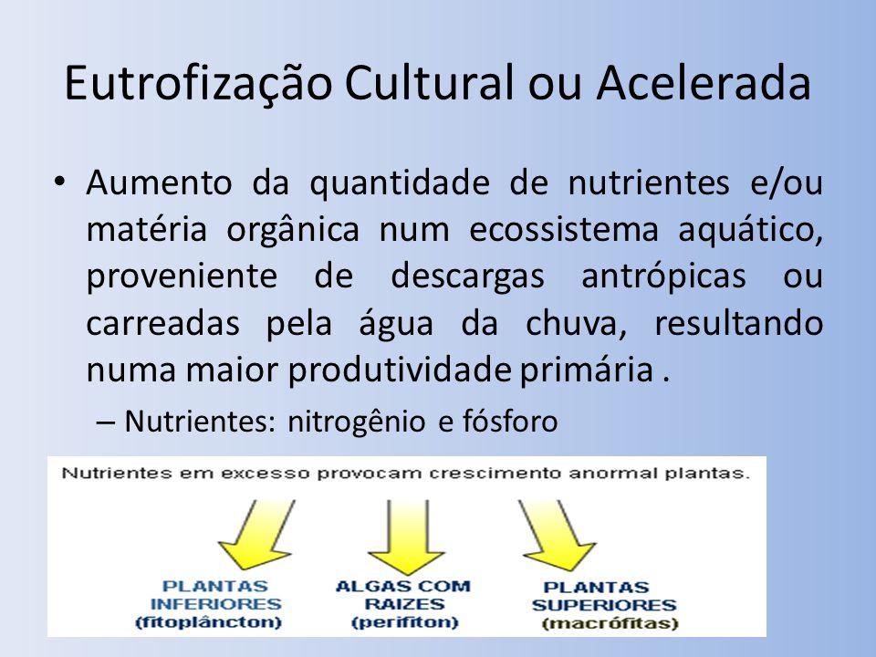 Eutrofização Cultural ou Acelerada Aumento da quantidade de nutrientes e/ou matéria orgânica num ecossistema aquático, proveniente de descargas antrópicas ou carreadas pela água da chuva, resultando numa maior produtividade primária.