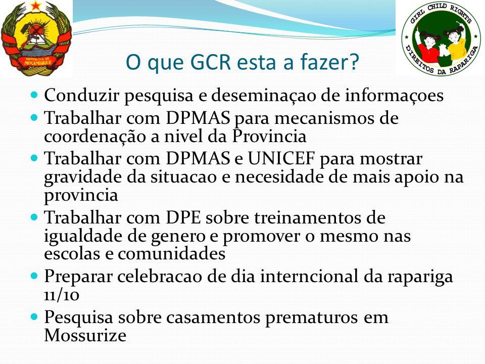 O que GCR esta a fazer? Conduzir pesquisa e deseminaçao de informaçoes Trabalhar com DPMAS para mecanismos de coordenação a nivel da Provincia Trabalh