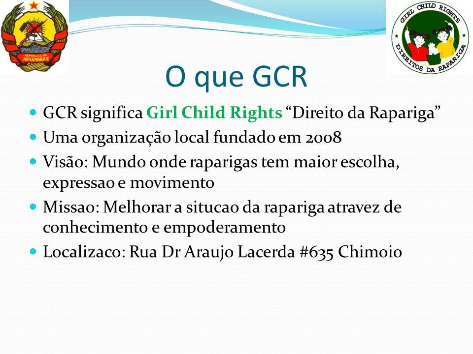 """O que GCR GCR significa Girl Child Rights """"Direito da Rapariga"""" Uma organização local fundado em 2008 Visão: Mundo onde raparigas tem maior escolha, e"""