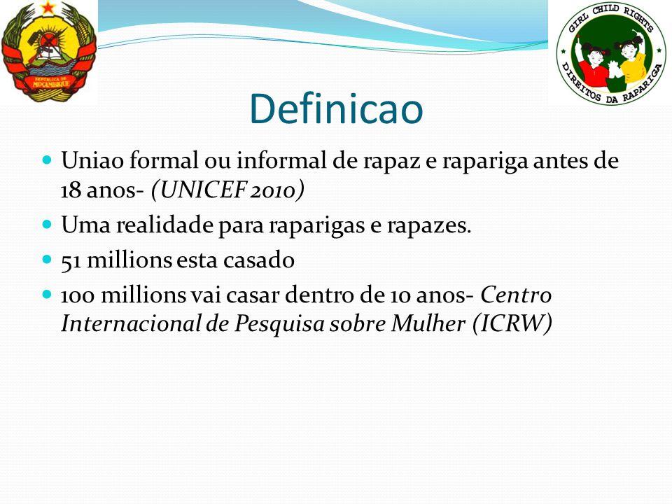 Definicao Uniao formal ou informal de rapaz e rapariga antes de 18 anos- (UNICEF 2010) Uma realidade para raparigas e rapazes. 51 millions esta casado