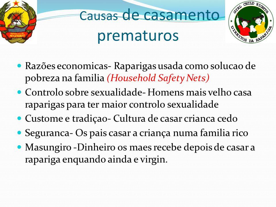 Causas de casamento prematuros Razões economicas- Raparigas usada como solucao de pobreza na familia (Household Safety Nets) Controlo sobre sexualidad