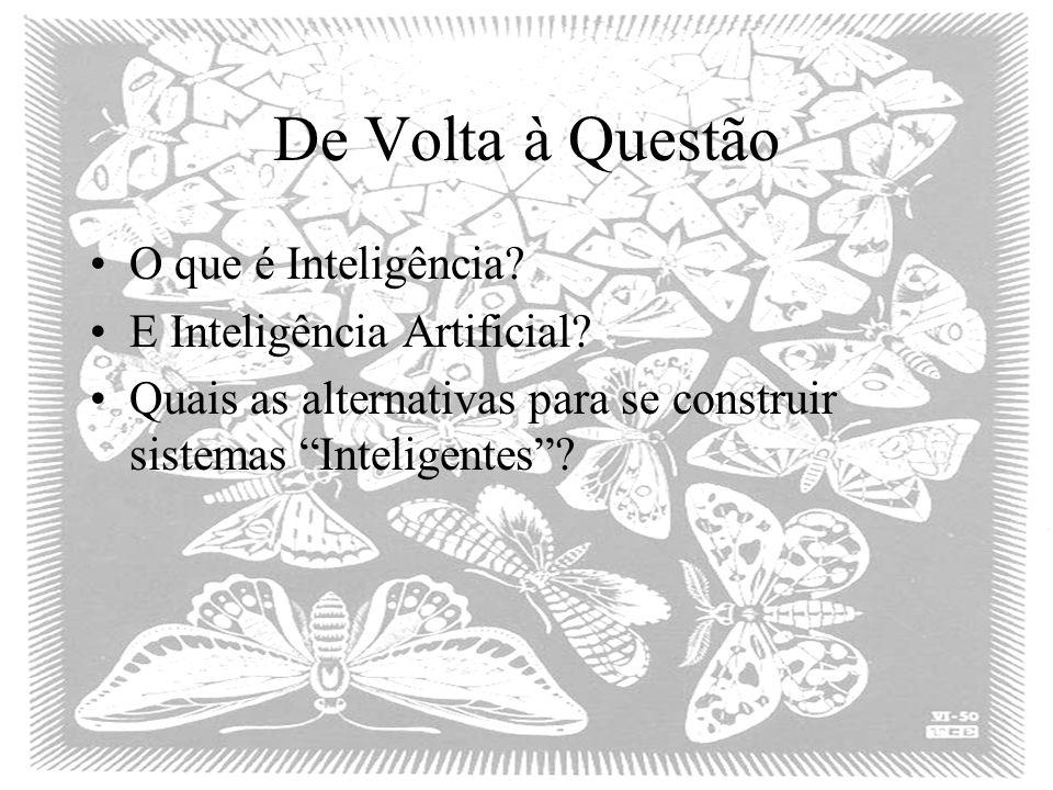 De Volta à Questão O que é Inteligência.E Inteligência Artificial.