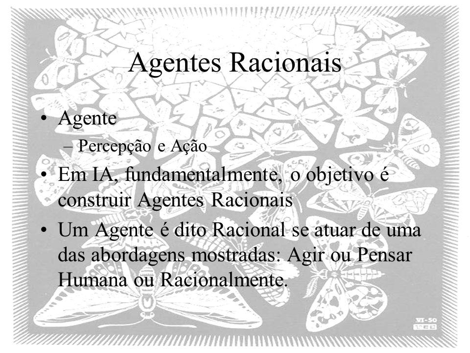 Agentes Racionais Agente –Percepção e Ação Em IA, fundamentalmente, o objetivo é construir Agentes Racionais Um Agente é dito Racional se atuar de uma das abordagens mostradas: Agir ou Pensar Humana ou Racionalmente.