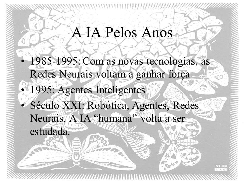 A IA Pelos Anos 1985-1995: Com as novas tecnologias, as Redes Neurais voltam a ganhar força 1995: Agentes Inteligentes Século XXI: Robótica, Agentes, Redes Neurais.