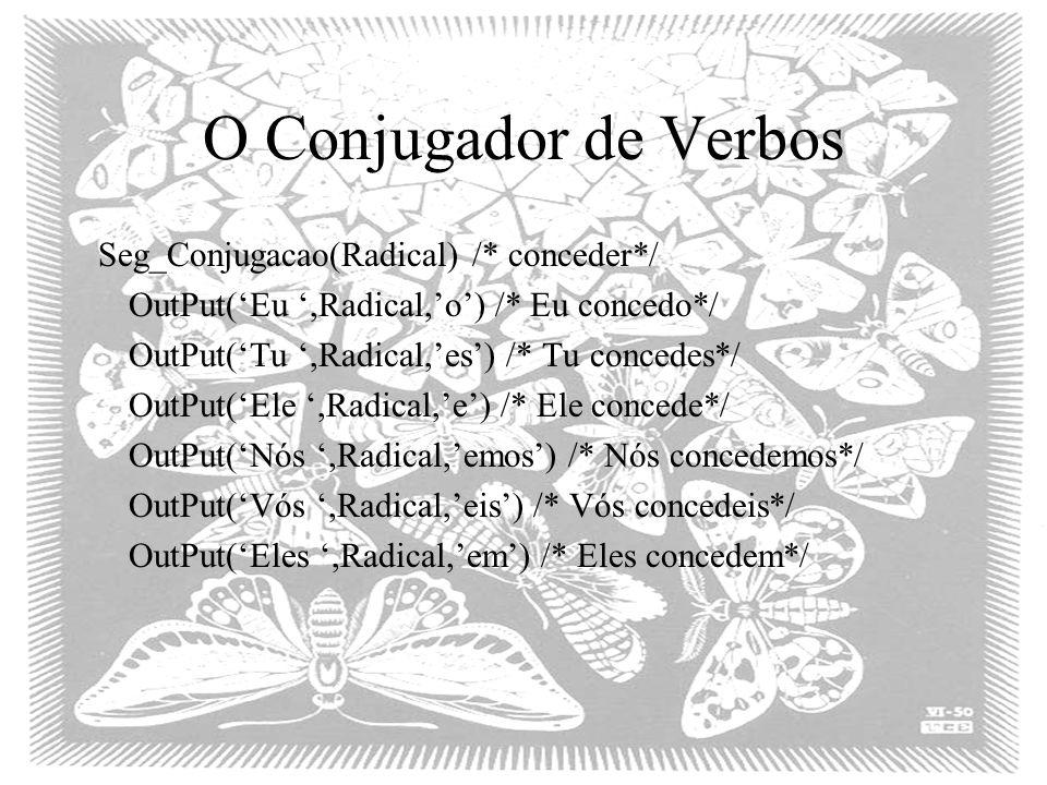 O Conjugador de Verbos Seg_Conjugacao(Radical) /* conceder*/ OutPut('Eu ',Radical,'o') /* Eu concedo*/ OutPut('Tu ',Radical,'es') /* Tu concedes*/ OutPut('Ele ',Radical,'e') /* Ele concede*/ OutPut('Nós ',Radical,'emos') /* Nós concedemos*/ OutPut('Vós ',Radical,'eis') /* Vós concedeis*/ OutPut('Eles ',Radical,'em') /* Eles concedem*/