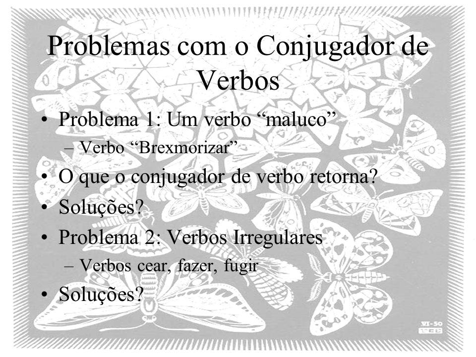 Problemas com o Conjugador de Verbos Problema 1: Um verbo maluco –Verbo Brexmorizar O que o conjugador de verbo retorna.