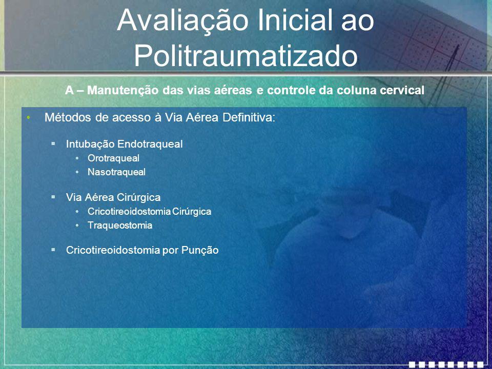 Avaliação Inicial ao Politraumatizado Métodos de acesso à Via Aérea Definitiva:  Intubação Endotraqueal Orotraqueal Nasotraqueal  Via Aérea Cirúrgic