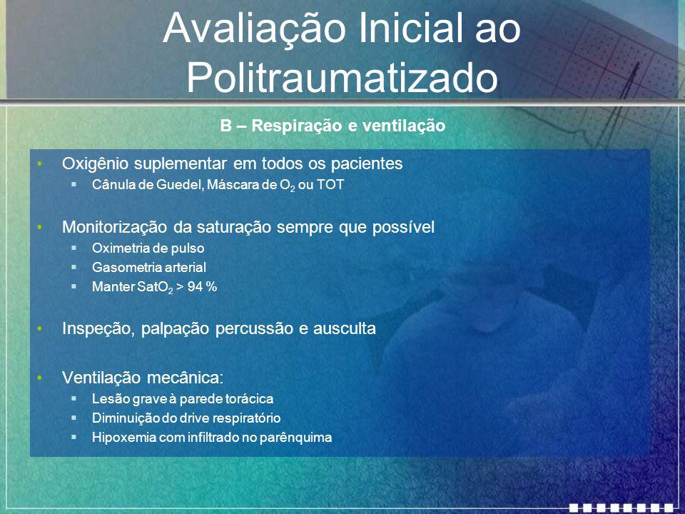 Avaliação Inicial ao Politraumatizado Oxigênio suplementar em todos os pacientes  Cânula de Guedel, Máscara de O 2 ou TOT Monitorização da saturação