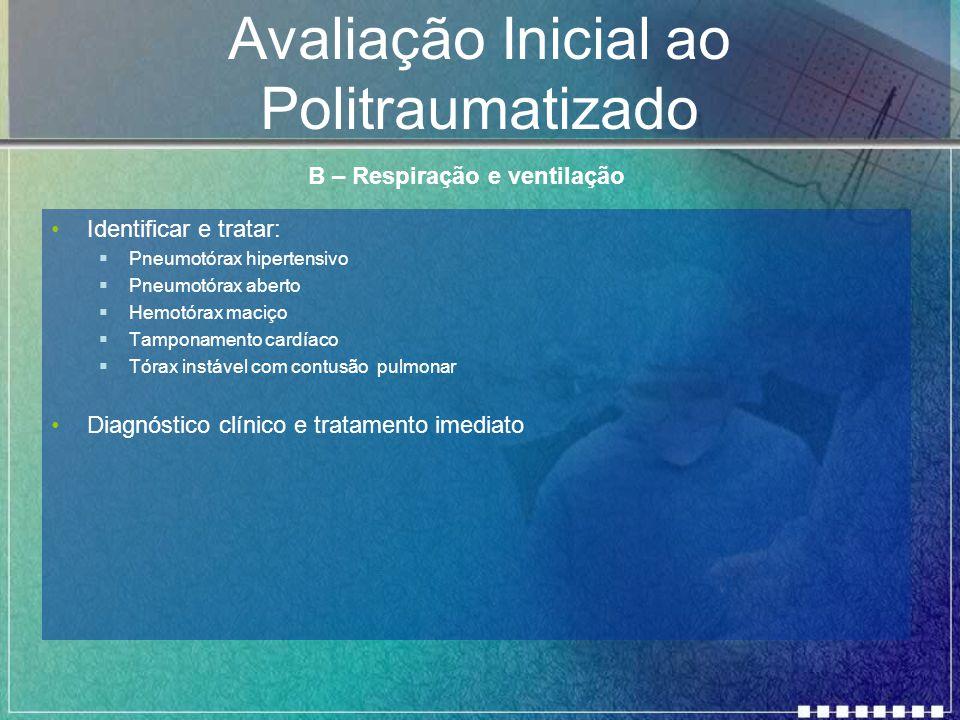 Avaliação Inicial ao Politraumatizado Identificar e tratar:  Pneumotórax hipertensivo  Pneumotórax aberto  Hemotórax maciço  Tamponamento cardíaco