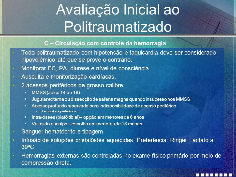 Avaliação Inicial ao Politraumatizado Todo politraumatizado com hipotensão e taquicardia deve ser considerado hipovolêmico até que se prove o contrári