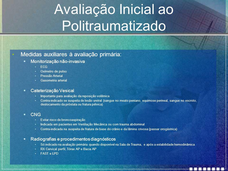 Avaliação Inicial ao Politraumatizado Medidas auxiliares à avaliação primária:  Monitorização não-invasiva ECG Oxímetro de pulso Pressão Arterial Gas