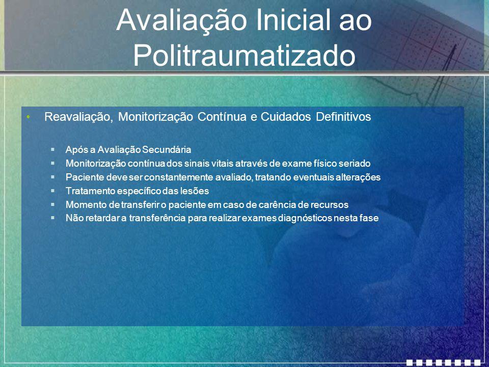 Avaliação Inicial ao Politraumatizado Reavaliação, Monitorização Contínua e Cuidados Definitivos  Após a Avaliação Secundária  Monitorização contínu