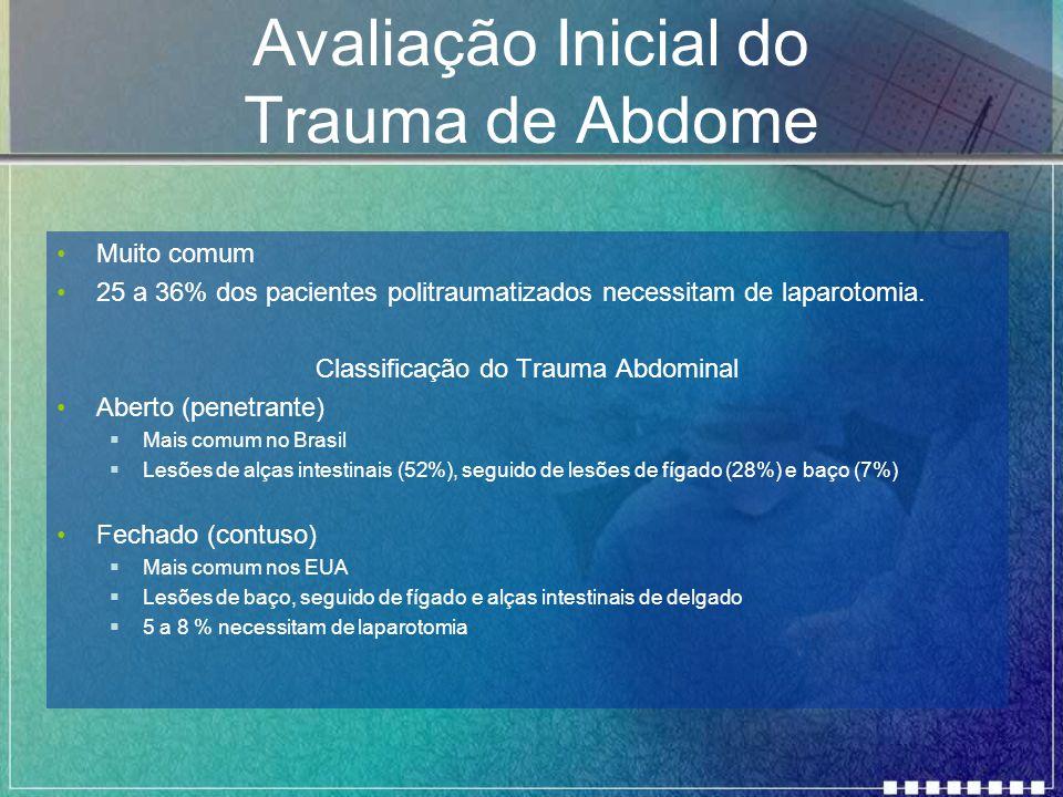 Avaliação Inicial do Trauma de Abdome Muito comum 25 a 36% dos pacientes politraumatizados necessitam de laparotomia. Classificação do Trauma Abdomina