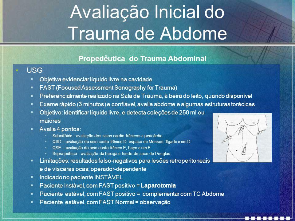 Avaliação Inicial do Trauma de Abdome USG  Objetiva evidenciar líquido livre na cavidade  FAST (Focused Assessment Sonography for Trauma)  Preferen