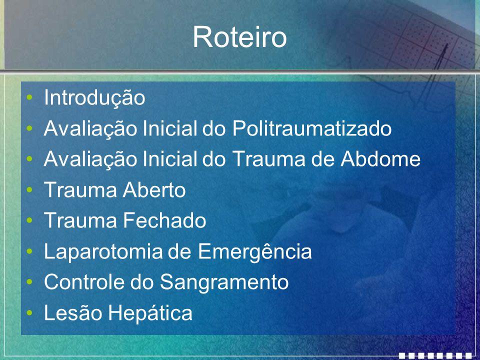 Roteiro Introdução Avaliação Inicial do Politraumatizado Avaliação Inicial do Trauma de Abdome Trauma Aberto Trauma Fechado Laparotomia de Emergência