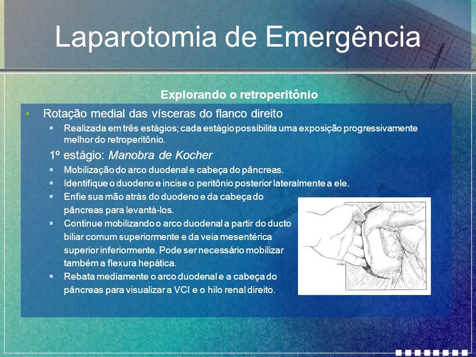 Laparotomia de Emergência Rotação medial das vísceras do flanco direito  Realizada em três estágios; cada estágio possibilita uma exposição progressi
