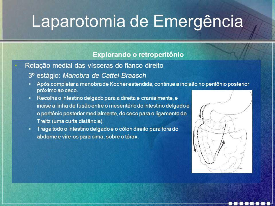 Laparotomia de Emergência Rotação medial das vísceras do flanco direito 3º estágio: Manobra de Cattel-Braasch  Após completar a manobra de Kocher est