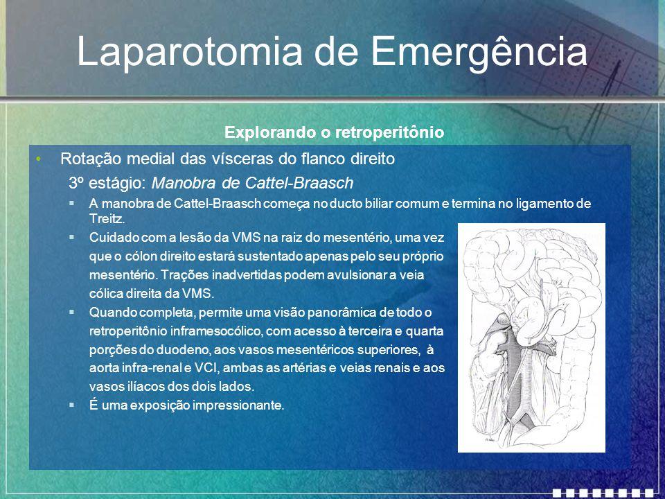 Laparotomia de Emergência Rotação medial das vísceras do flanco direito 3º estágio: Manobra de Cattel-Braasch  A manobra de Cattel-Braasch começa no