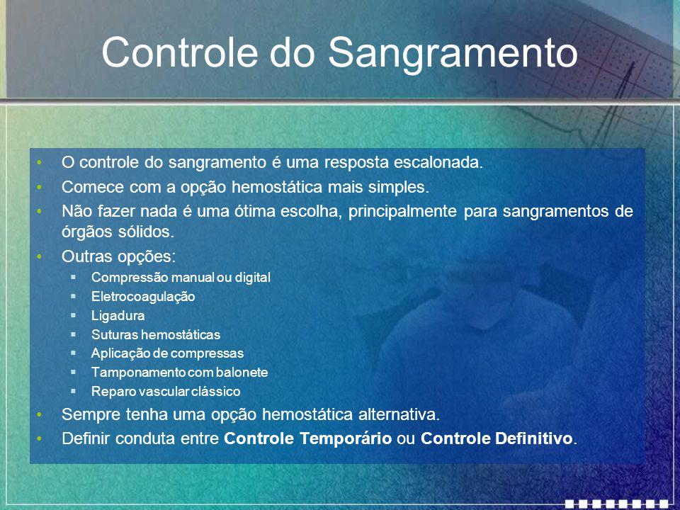 Controle do Sangramento O controle do sangramento é uma resposta escalonada. Comece com a opção hemostática mais simples. Não fazer nada é uma ótima e