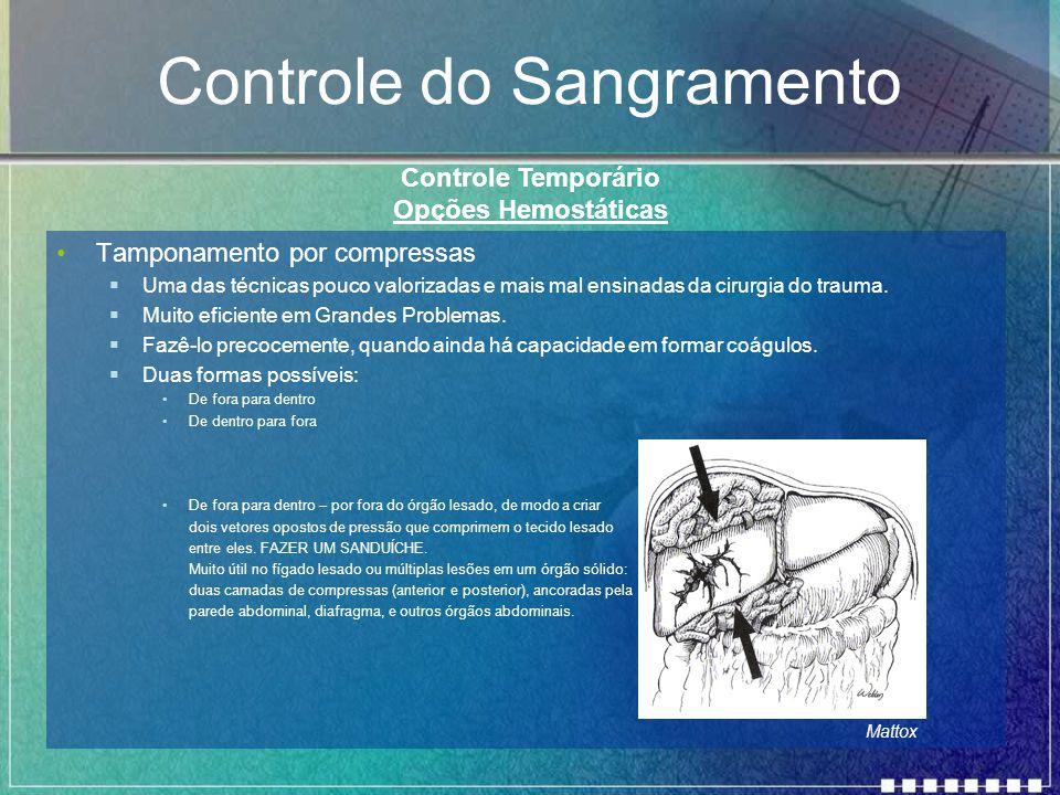 Controle do Sangramento Tamponamento por compressas  Uma das técnicas pouco valorizadas e mais mal ensinadas da cirurgia do trauma.  Muito eficiente