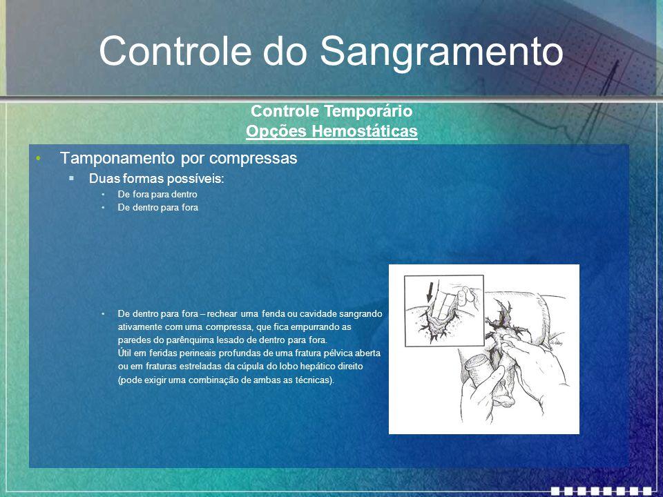 Controle do Sangramento Tamponamento por compressas  Duas formas possíveis: De fora para dentro De dentro para fora De dentro para fora – rechear uma