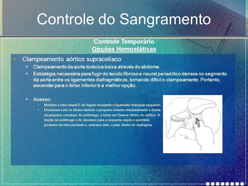 Controle do Sangramento Clampeamento aórtico supracelíaco  Clampeamento da aorta torácica baixa através do abdome.  Estratégia necessária para fugir