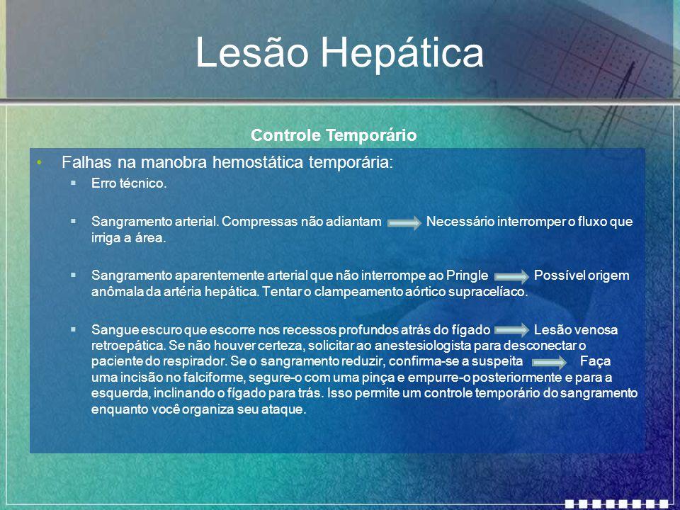 Lesão Hepática Falhas na manobra hemostática temporária:  Erro técnico.  Sangramento arterial. Compressas não adiantam Necessário interromper o flux