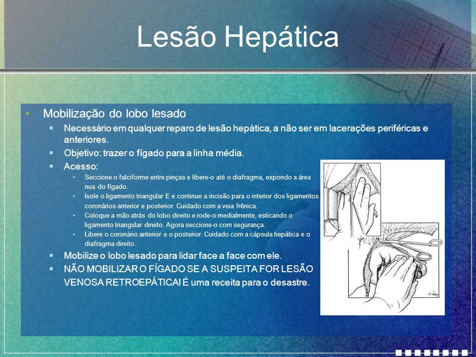 Lesão Hepática Mobilização do lobo lesado  Necessário em qualquer reparo de lesão hepática, a não ser em lacerações periféricas e anteriores.  Objet
