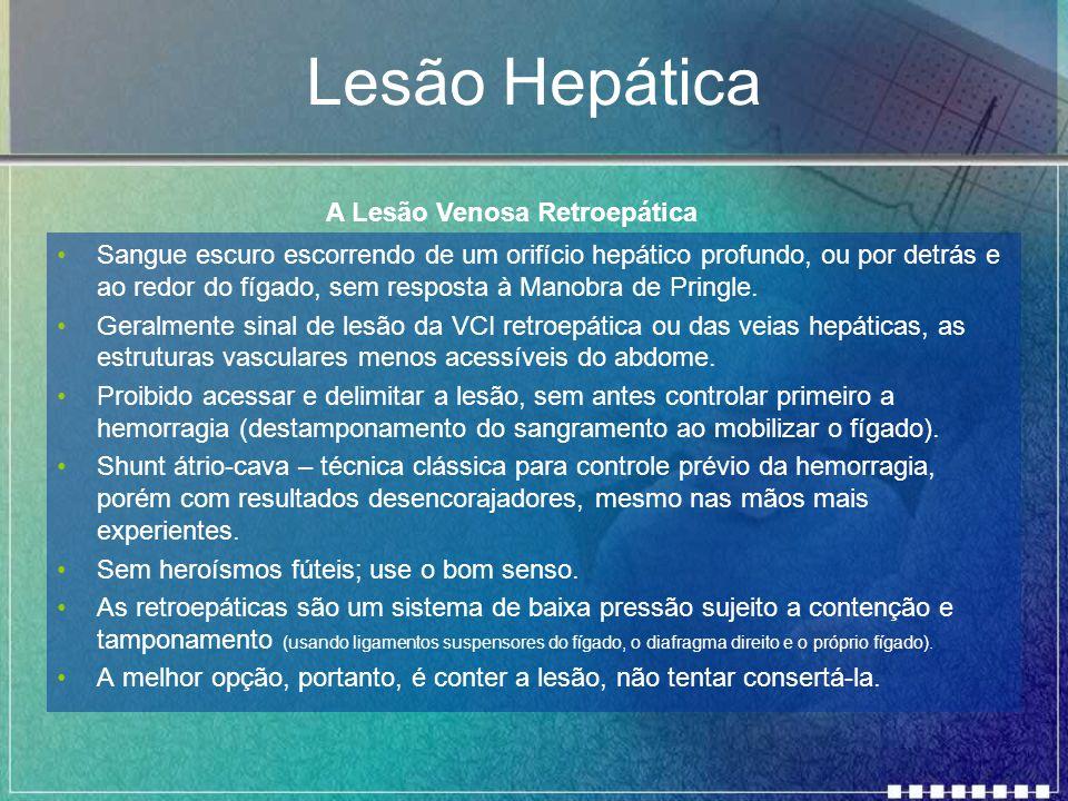 Lesão Hepática Sangue escuro escorrendo de um orifício hepático profundo, ou por detrás e ao redor do fígado, sem resposta à Manobra de Pringle. Geral