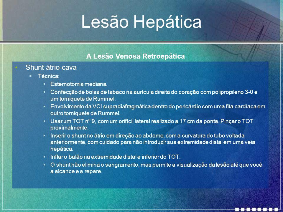 Lesão Hepática Shunt átrio-cava  Técnica: Esternotomia mediana. Confecção de bolsa de tabaco na aurícula direita do coração com polipropileno 3-0 e u