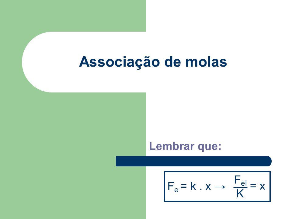 Associação de molas Lembrar que: F e = k. x → F el K = x