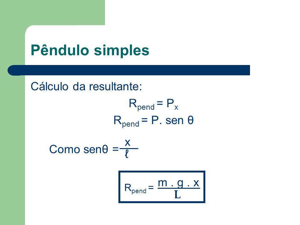 Pêndulo simples Cálculo da resultante: R pend = P x R pend = P. sen θ Como senθ = x ℓ R pend = m. g. x L