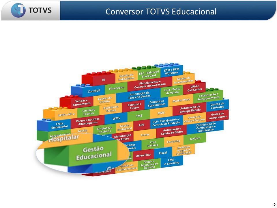 3 Razões para converter Conversor TOTVS Educacional Evolução Funcional É uma ferramenta com as melhores práticas internacionais do segmento Educacional com aderência já comprovada para a Comunidade Européia e América Latina e clientes em Portugal e México.