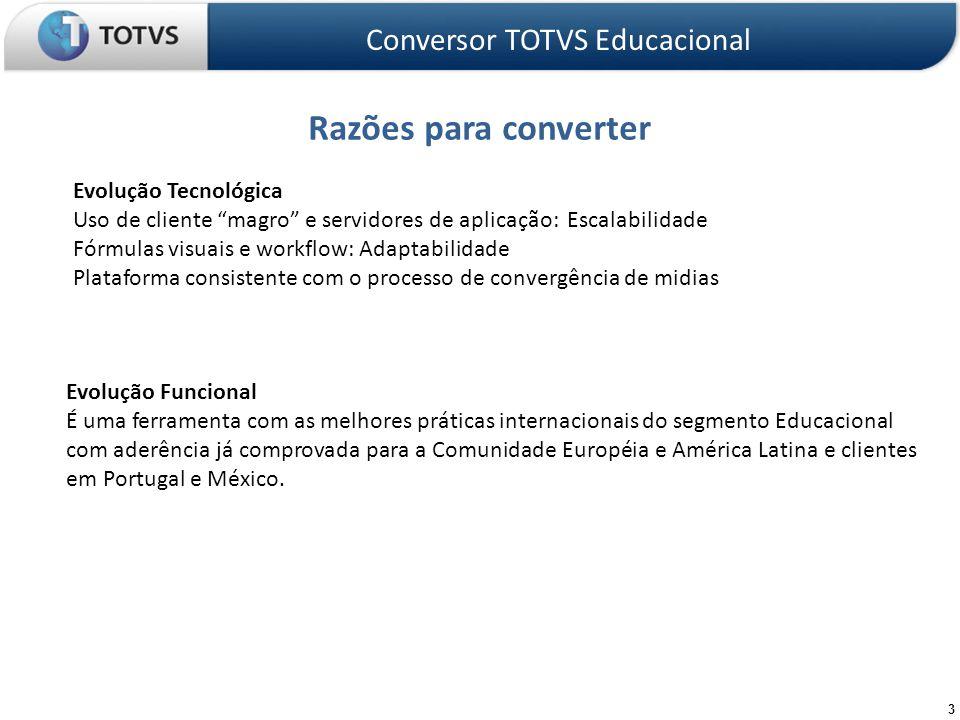 44 Onde obter documentação Conversor TOTVS Educacional TDN TDN: http://tdn.totvs.com.br/pages/viewpage.action?pageId=4814789http://tdn.totvs.com.br/pages/viewpage.action?pageId=4814789