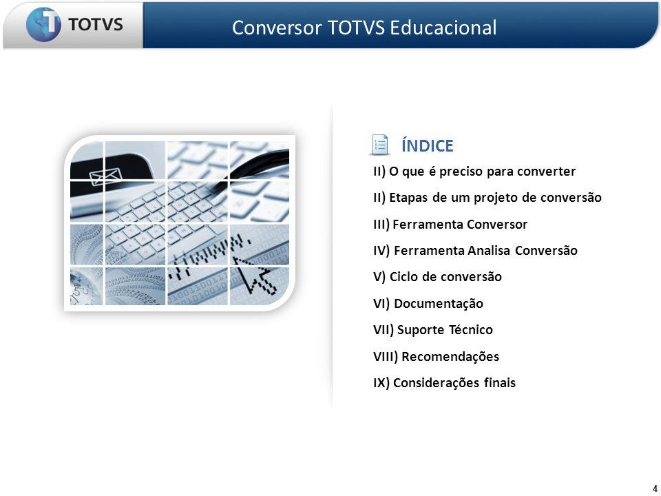 15 Etapas do projeto de conversão – Preparar base de dados para uso exclusivo no processo de teste – Instalar as ferramentas de conversão Analisa Conversão Conversor Educacional – Aprender a utilizar as ferramentas de conversão Conversor TOTVS Educacional Montar ambiente de teste