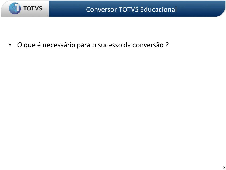16 Etapas do projeto de conversão – A ferramenta Analisa Conversão identifica diversas situações de possíveis inconsistências na Base de Dados Conversor TOTVS Educacional Identificar inconsistências na Base de Dados