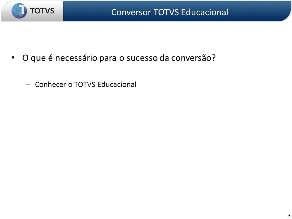 17 Etapas do projeto de conversão - Planejar e executar as correções Conversor TOTVS Educacional Acertar as inconsistências