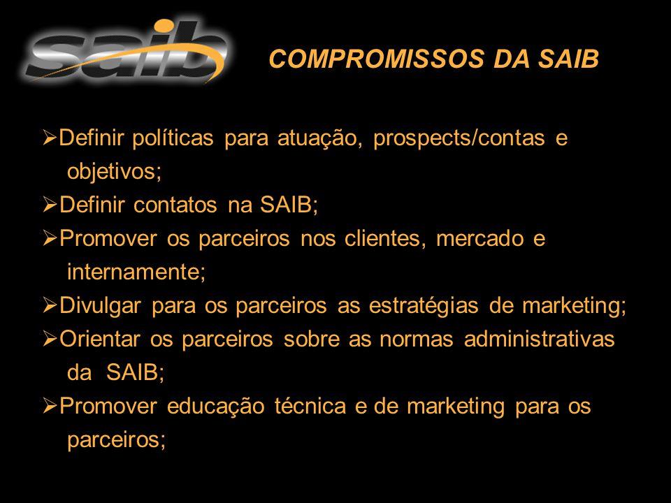  D Definir políticas para atuação, prospects/contas e objetivos;  Definir contatos na SAIB;  Promover os parceiros nos clientes, mercado e internamente;  Divulgar para os parceiros as estratégias de marketing;  Orientar os parceiros sobre as normas administrativas da SAIB;  Promover educação técnica e de marketing para os parceiros; COMPROMISSOS DA SAIB