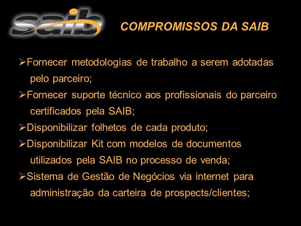  Fornecer metodologias de trabalho a serem adotadas pelo parceiro; ornecer suporte técnico aos profissionais do parceiro certificados pela SAIB;  Di