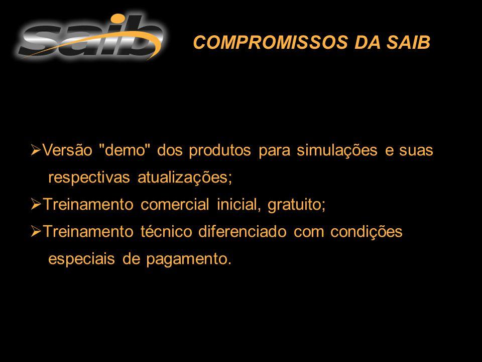  V Versão demo dos produtos para simulações e suas respectivas atualizações;  Treinamento comercial inicial, gratuito; reinamento técnico diferenciado com condições especiais de pagamento.